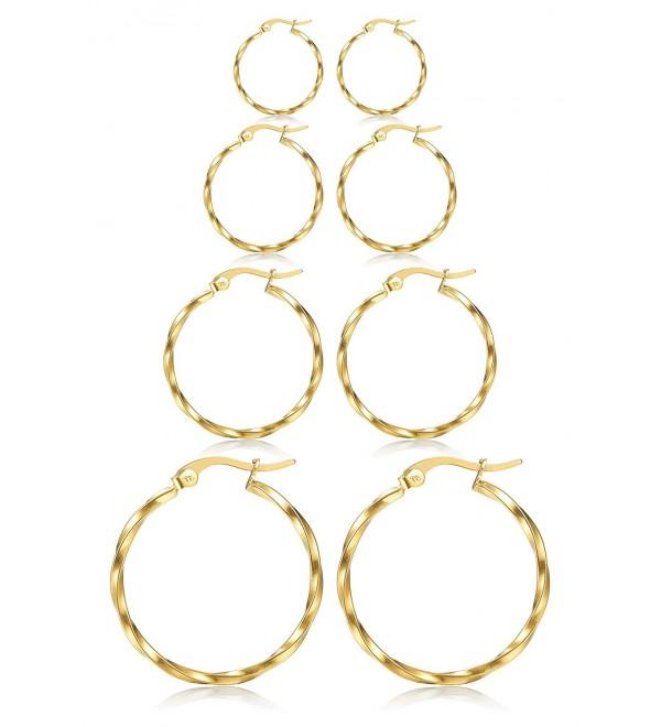 ORAZIO 4 Pairs Stainless Steel Hoop Earrings Set Twist Round Huggie Earrings for Women-10mm-20mm - C1185SEZOSE