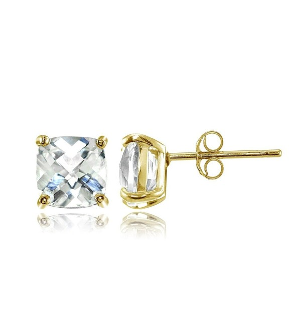 Sterling Silver 6mm Cushion-Cut Gemstones Stud Earrings- Choice of Colors - White Topaz-Gold Flashed Silver - C0183OZ789D