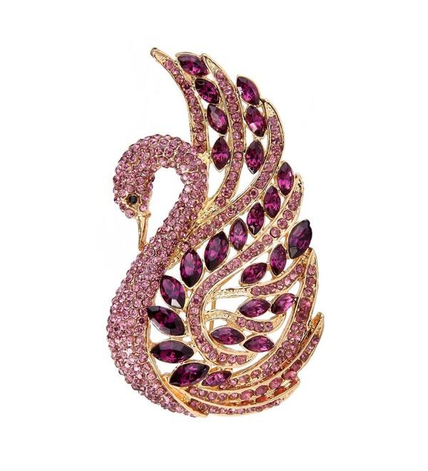 EVER FAITH Women's Austrian Crystal Elegant Swan Bird Bridal Brooch Pin - Amethyst Color Gold-Tone - CO11BTXWCPF