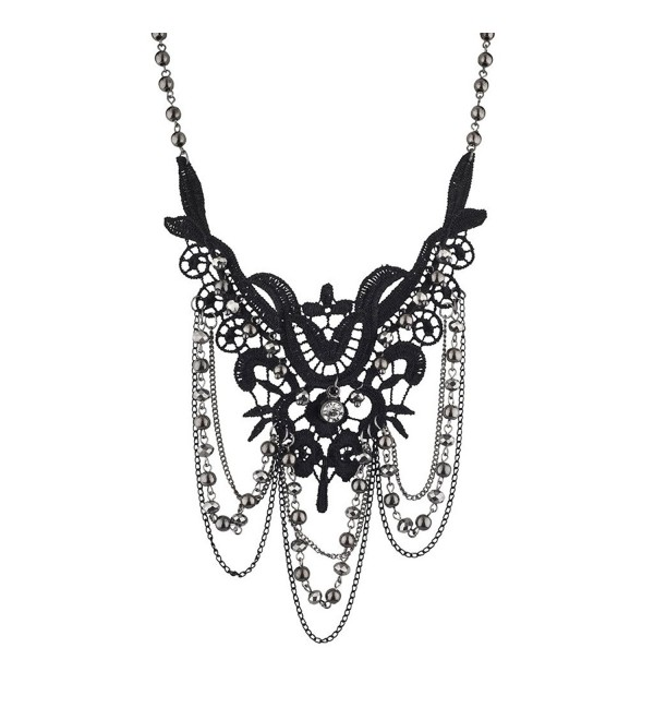 Lux Accessories Black and Hematite Dark Lace and Drape Beaded Statement Necklace - CF12LQ59591