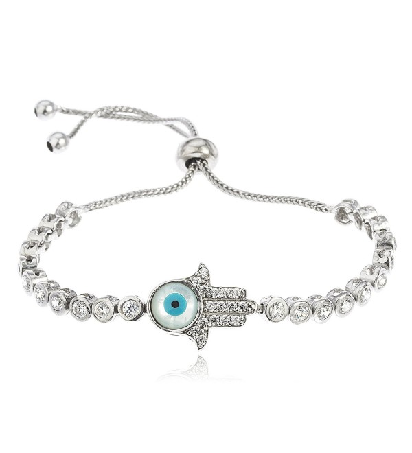 Sterling Silver Hamsa with Eye Bezel Cubic Zirconia Adjustable 8 Inch Bracelet (I-2497) - C811S7GUTQB