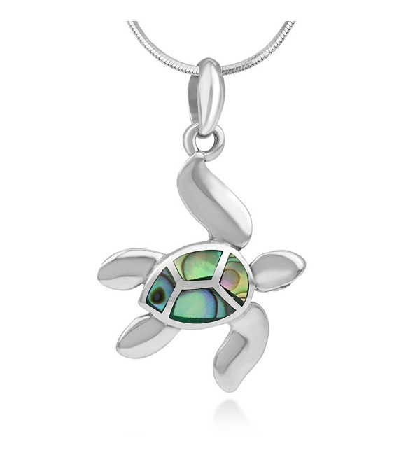 925 Sterling Silver Inlay Dangling Sea Turtle Pendant Necklace for Women- 18 Inches Chain - Green Abalone - C112BOY9BLL