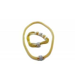 Stainless Steel Serpentine Mesh Necklace And Bracelet With Magnetic Clasp - Gold 1 - CP12O2L39JL