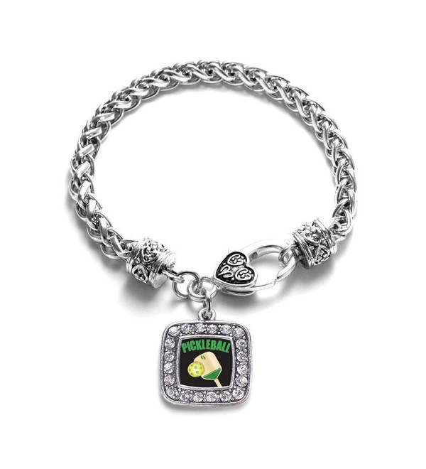 Pickleball Classic Braided Classic Silver Plated Square Crystal Charm Bracelet - CQ11XMTWFWJ