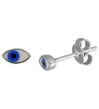 Small Sterling Silver Enamel Eye Stud Earrings- 1/4 inch - C7115M7M0GZ