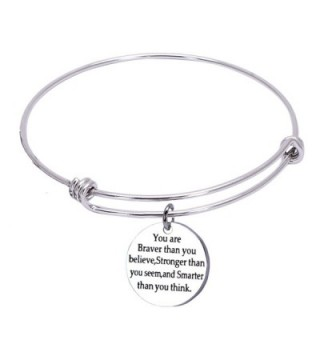You Are Braver than You Believe Stainless Steel Adjustable Charm Bangle Bracelets for Women - B: Silver - CP12NVDEQI5