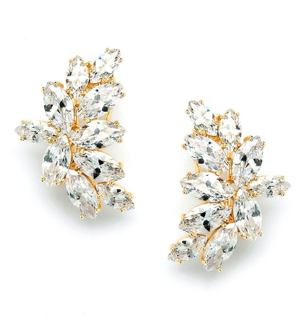 Mariell 14K Gold Plated CZ Clip Earrings with Marquis-Cut Clusters - Bridal- Wedding & Mother of Bride - C512JGUEQ51