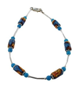 Womens Blue & Yellow Sun Fimo- Turquoise Dolomite & Sterling Silver Beaded Anklet with Daisies - CU11CPAHT6H