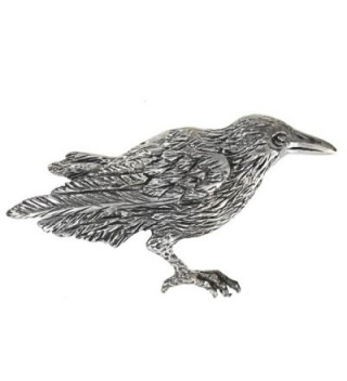 "Sterling Silver Crow Raven Brooch Pin 1 7/8"" Long - C711B0Y8OMX"