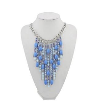 BOCAR Fashion Blue Green Seed Beads Antique Gold Pendant Necklace Women Gift - 346-royalblue - CV1804R2L8M