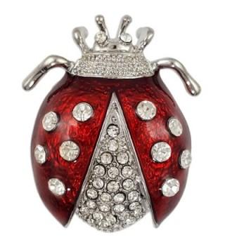 CRYSTAL RED RHODIUM PLATED LADYBUG BROOCH PIN MADE WITH SWAROVSKI ELEMENTS - CH17YA9933L