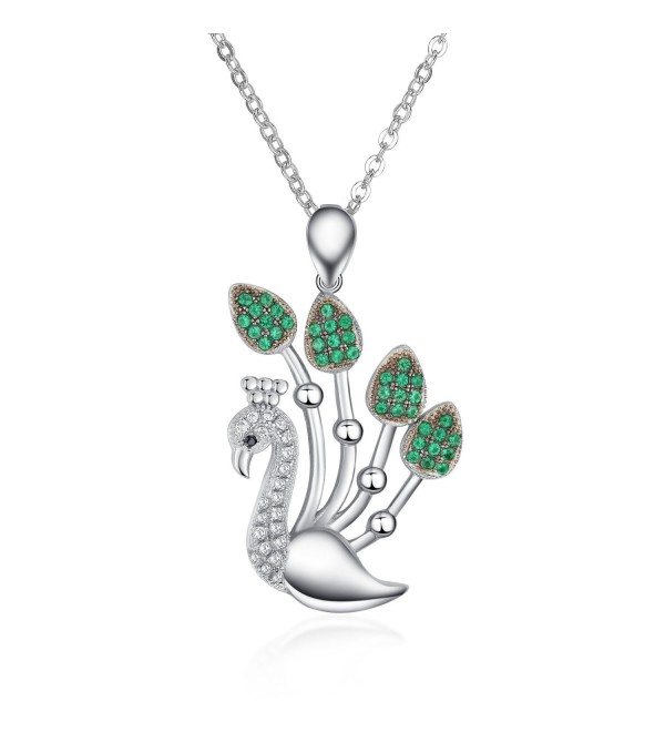 Sterling Silver Simulated Diamond Peacock Pendant Necklace (PSQD8040SVR_CZ) - CF11QNYU11H