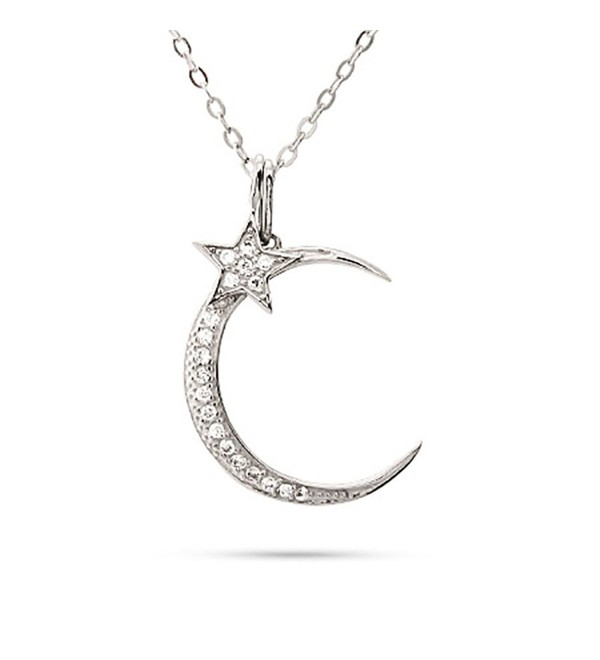"Sterling Silver CZs Moon and Star Pendant Necklace- 16"" with 2"" Extender - CQ11BDWJGQ5"