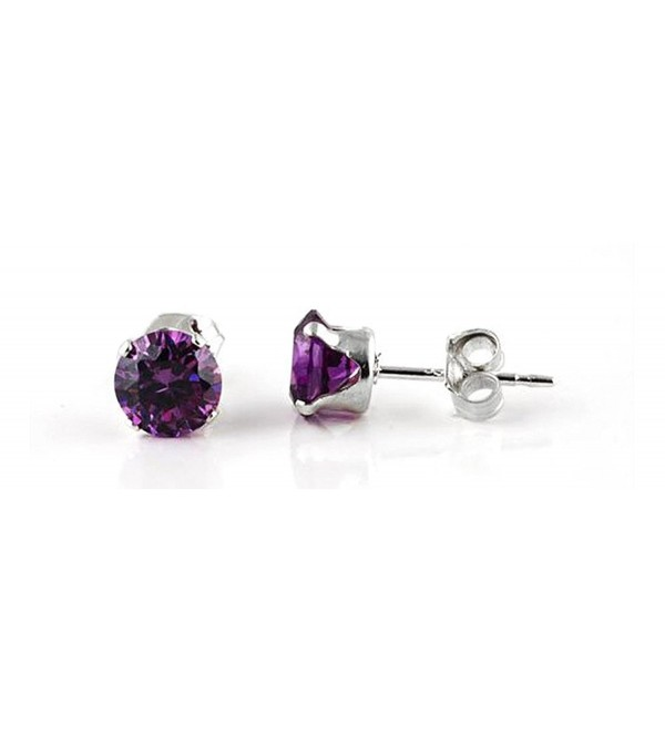 Sterling Silver Purple 3mm Round Cubic Zirconia CZ Stud Earrings - CL115OX2LF7