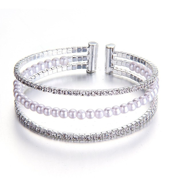 YUXI Silver Crystal Pearl Beads Bracelets Multilayer Bangles for Women Wedding Bridemaids Jewelry (Style 1) - CB182AQI03X