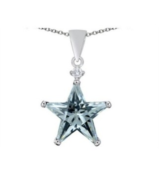 Star K Sterling Silver Large 14mm Fancy Star Pendant - Simulated Aquamarine - CE11GN9GWZ1