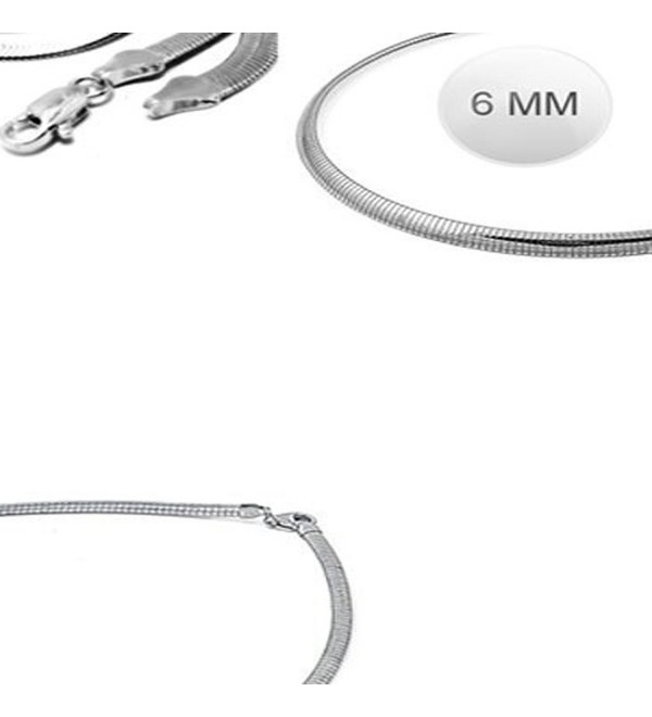 Sterling Silver Italian Solid Flat Omega Chain 6MM Luxurious Nickel Free Necklace with Lobster Claw Clasp Closure - CM11JYRBPSN
