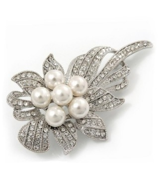 Bridal Swarovski Crystal Synthetic Pearl Floral Brooch In Rhodium Plating - 7cm Length - CL11C3CO6Z5