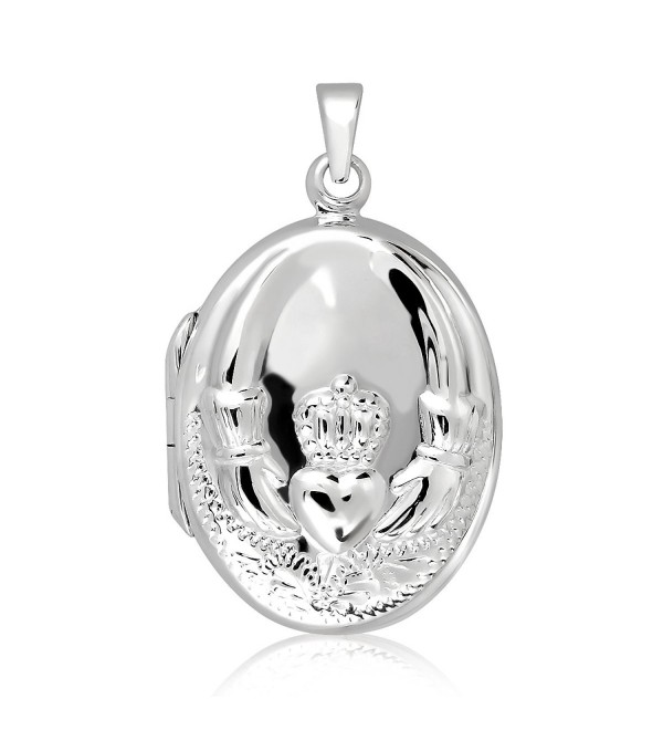 WithLoveSilver Gifts Jewelry Solid Sterling Silver 925 Antique Oval Celtic Claddagh Locket Pendant - CH11DKZPBUX
