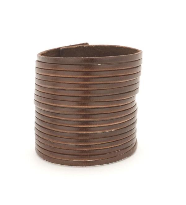 81stgeneration Women's Men's Genuine Leather Brown Adjustable Punk Rock Cuff Bracelet - CR1142T30GX
