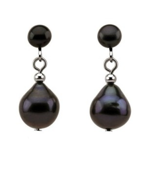 Black Freshwater Cultured Pearl Clip on Earrings 5-10 mm - C612H3B9VTL