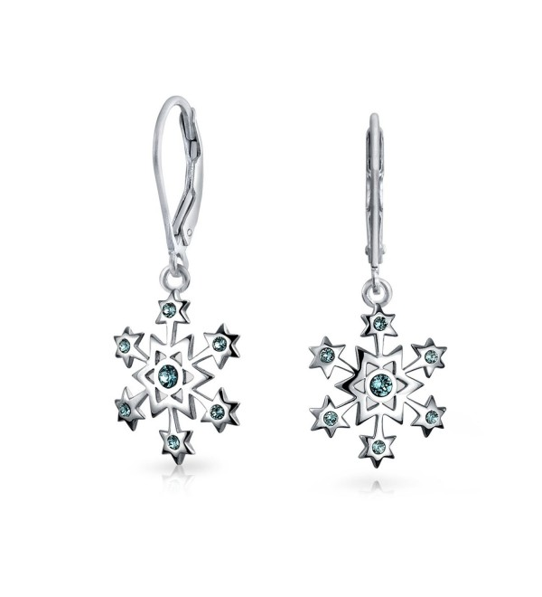 Bling Jewelry Silver Snowflake Simulated Blue Topaz CZ Leverback Dangle Earrings - CV117D2FIN9