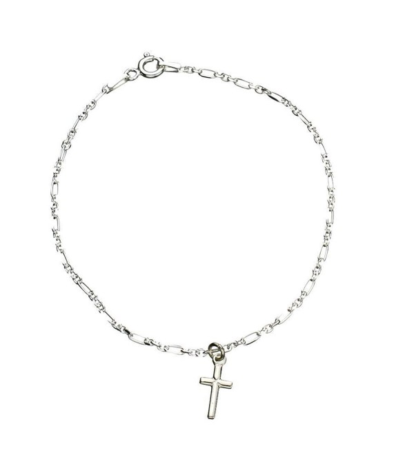 Sterling Silver Cross Charm Anklet Italy - CG12KF01NED