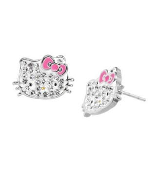 Hello Kitty Stud Earrings with Crystals in Sterling Silver-Plated Brass - CN17AZ9GAQ6