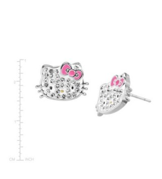 Hello Earrings Crystals Sterling Silver Plated in Women's Stud Earrings