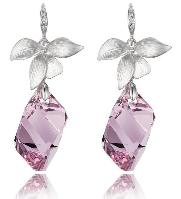 Lily Flower Amethyst Crystal Cube Drop Earrings [Swarovski Element Crystals] - C711V8HMCCF