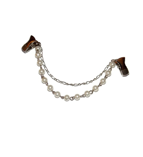 5 Inch Wedding Style Double Hung Style Chain Sweater Clips with Rubber Grip Alligator Clips - C712MYNMMDO