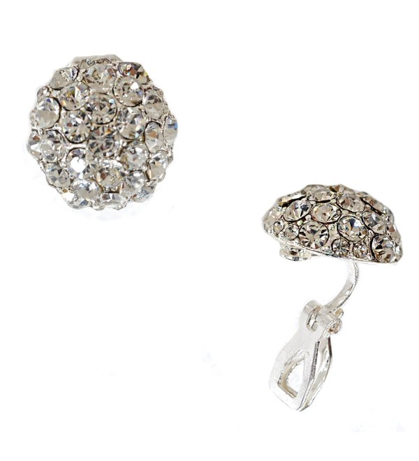Silver Crystal Circle Clip Earring - C511W3NYCYJ