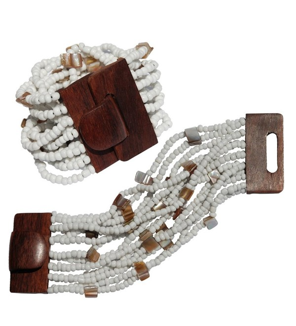 "White Beaded Bali Bracelet With Hard Wood Buckle Clasp - 14 Elastic Strands - 2"" Wide with Shells - CF11FOU3FXR"