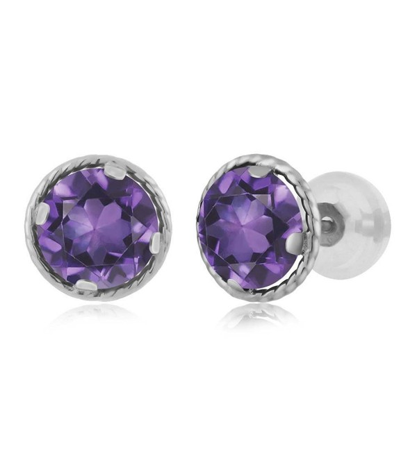 14K White Gold Round Purple Amethyst Gemstone Birthstone Stud Earrings (1.40 cttw- 6MM) - CW11MUYNTJZ
