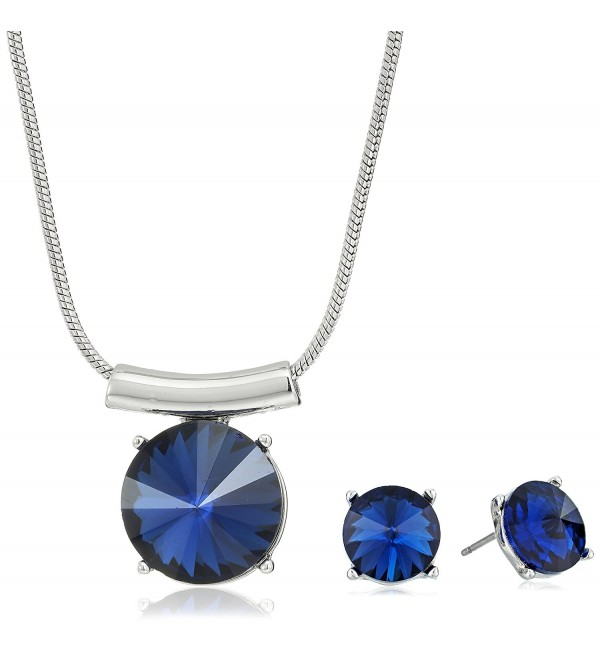 Kenneth Cole New York Gold Pendant Necklace and Earrings Jewelry Set - Blue - CU186K9XYAG