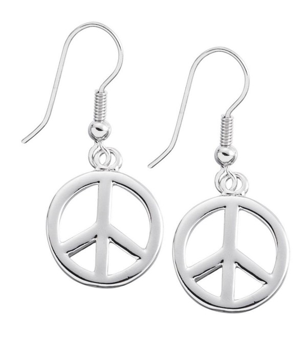 Large Peace Sign Dangle Earrings - CC11K0SMYT9