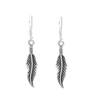 Silverly Women's .925 Sterling Silver Feather Oxidized Drop 23 mm Earrings - C811OXL17LP