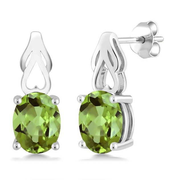 Sterling Silver Green Peridot Gemstone Birthstone Women Earrings (2.70 cttw- 9X7MM Oval) - CQ117BW2CA7