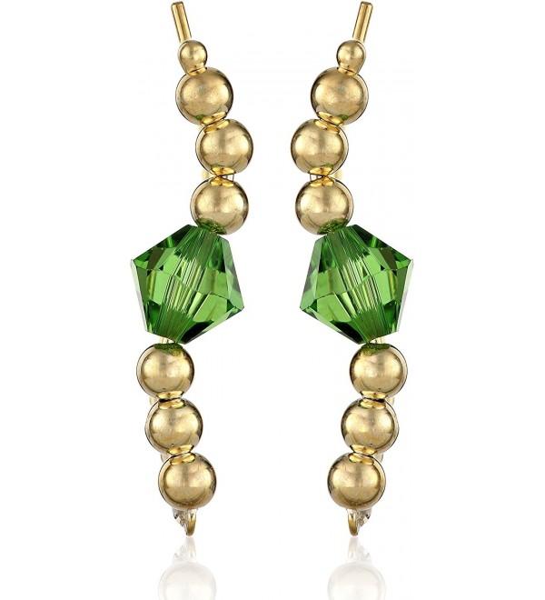 The Ear Pin Swarovski Elements Swarovski Crystal Center Beaded Clip-On Earrings - Emerald - CN11HSW3VVZ