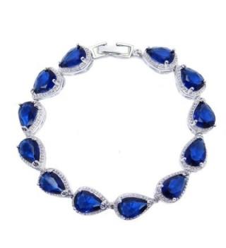SELOVO Wedding Bridal Teardrop Bracelet Chain Link Cubic Zirconia Silver Tone - blue - C412H55G1YD