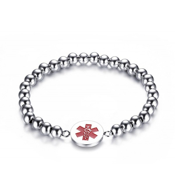 "Free Engraving Vnox Stainless Steel Bead Chain Medical Alert ID Bracelet-8"" - CA12ODMVWKC"