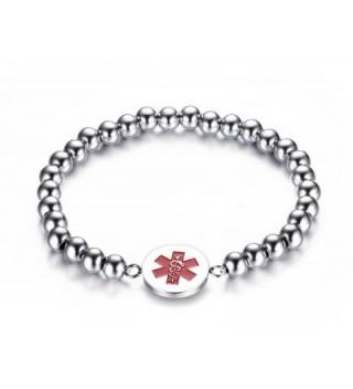 """Free Engraving Vnox Stainless Steel Bead Chain Medical Alert ID Bracelet-8"""" - CA12ODMVWKC"""