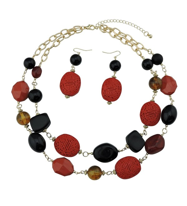 BOCAR 2 Layer Statement Chunky Red Black Beaded Fashion Collar Necklace Earring Set for Women Gifts - 434 - CJ183S25YKH