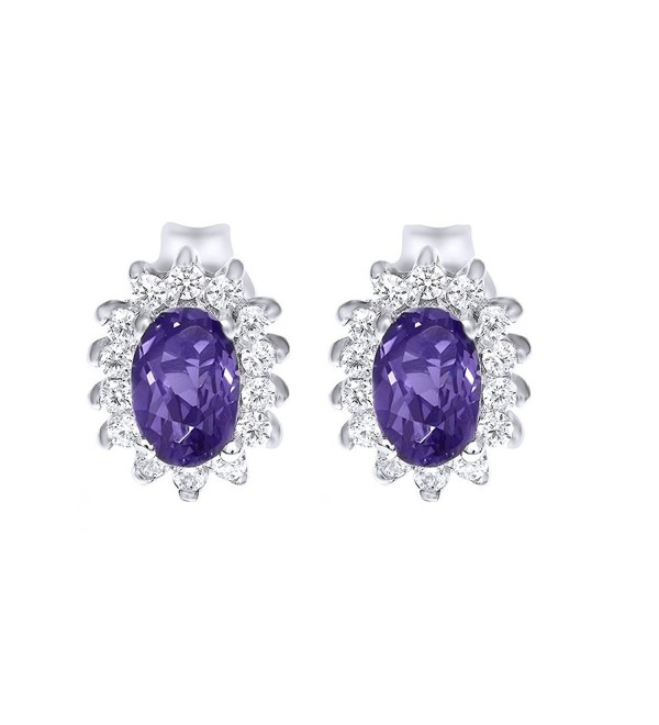 Purple Simulated Alexandarite & White Sapphire Stud Earrings In 925 Sterling Silver - CD12NYQUWDU