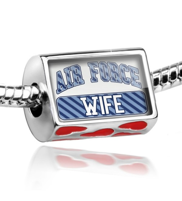 Bead with Hearts Air Force Wife- Blue stripes - Charm Fit All European Bracelet - C711RGPIAS7