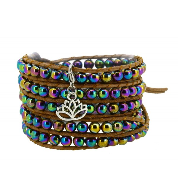 Rainbow Simulated Hematite Bead Brown Wrap Bracelet with a Removable Charm Pendant - CM11W4W3I6H