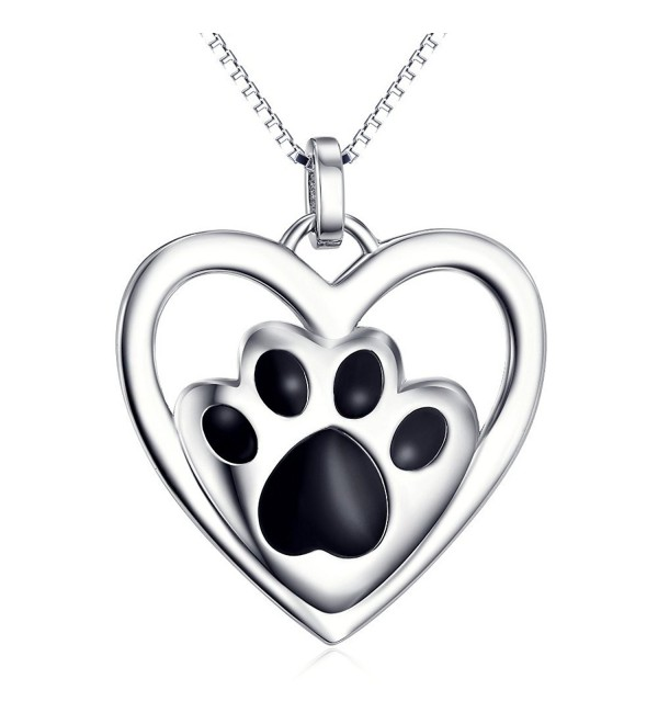 925 Sterling Silver Puppy Paw Pet Love Heart Pendant Necklace for Women- 18 inch Box Chain - C812H69ZTRN