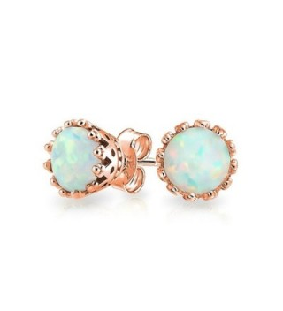 Bling Jewelry Oval Crown Simulated Opal Stud earrings Rose Gold Plated 6mm - C811PKHKJGF
