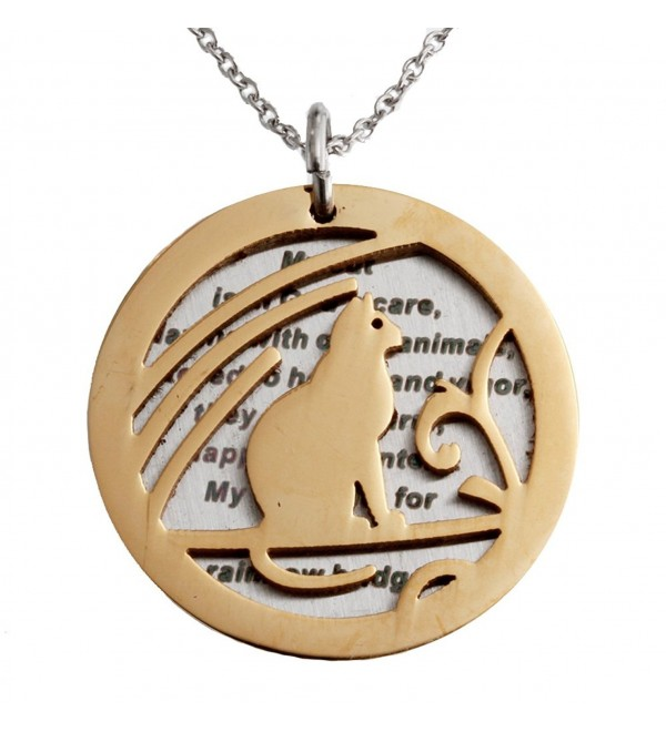 R.H. Jewelry Stainless Steel Sentiment Pendant Necklace Cat Memorial Round Tag - C512BS9IVLD