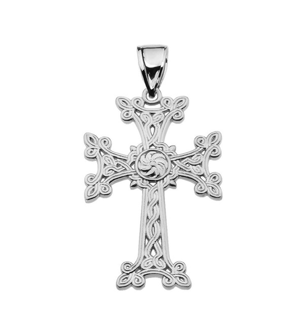 "Sterling Silver Eternity ""Khachkar"" Armenian Cross Pendant (Medium) - CS1825ME7RT"
